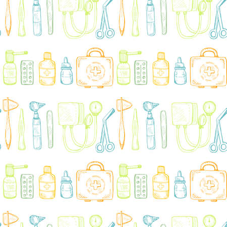 depressor: Seamless pattern including equipment , medical tools and drugs. Vector hand drawn medical collection