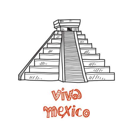 latinoamerica: Composition with Mexico piramid. Doodle vector Mexico related collection. Viva mexico Illustration