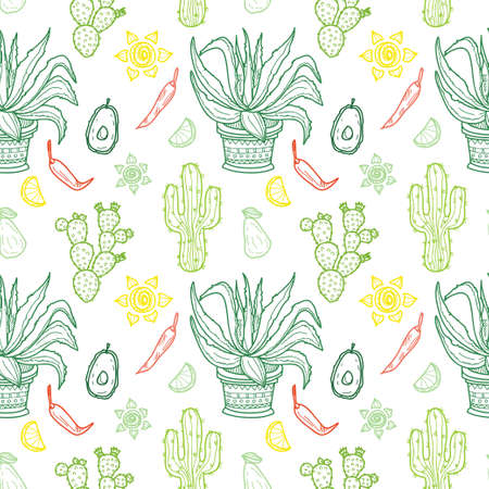 latinoamerica: Seamless pattern with Mexico related hand drawn icons. Doodle vector Mexico related collection