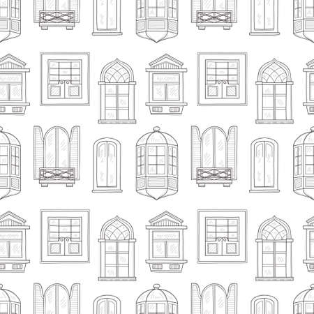 panes: Seamless pattern with cute hand drawn windows  different types. Vintage windows collection