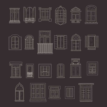 window pane: Set of cute hand drawn windows including 23 different types. Vintage windows collection Illustration