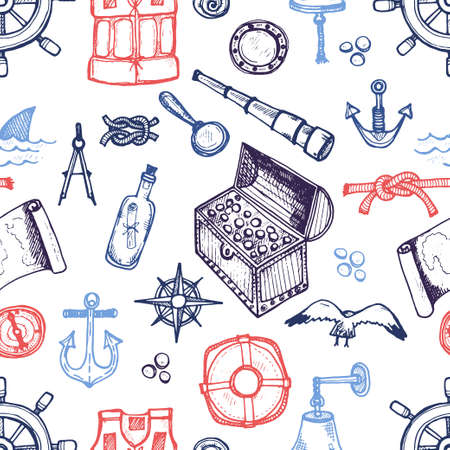 hand knot: Seamless pattern with cute hand drawn elements of marine theme including ships, anchors, fish, shells and others. Hand drawn marine collection