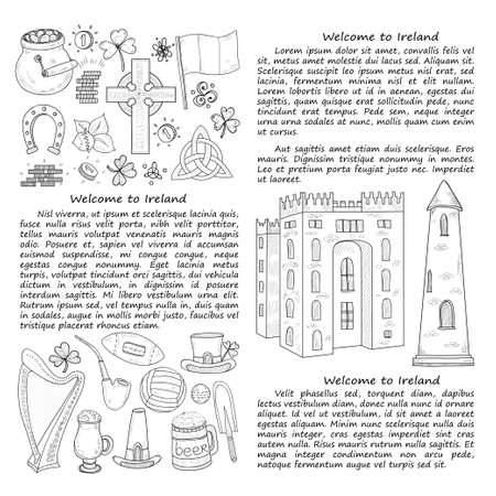 Card template with Ireland related hand drawn icons including irish coffee; irish round tower and others. Doodle vector Ireland related collection