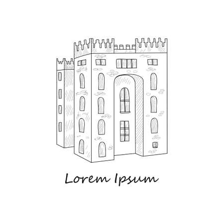 Composition with Irish castle. Doodle vector Ireland related collection Vektorové ilustrace