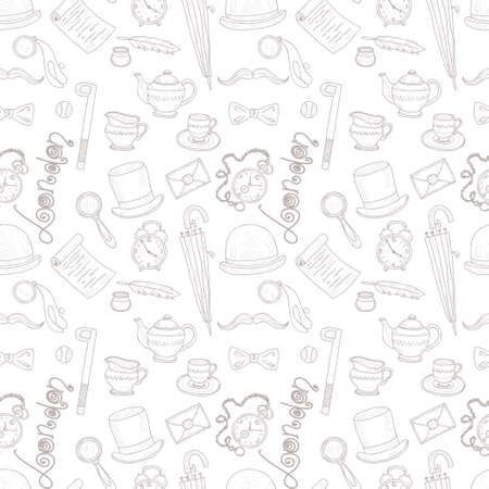 britain: Seamless pattern with Great Britain related hand drawn icons.  Doodle vector Great Britain related collection Illustration