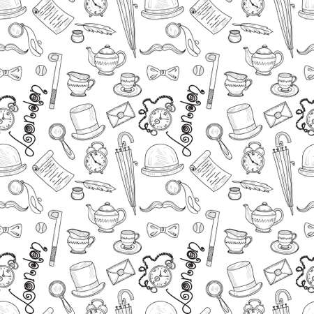 great britain: Seamless pattern with Great Britain related hand drawn icons.  Doodle vector Great Britain related collection Illustration