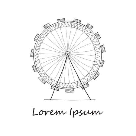 overlook: |Composition with cute hand drawn Ferris wheel. V ector