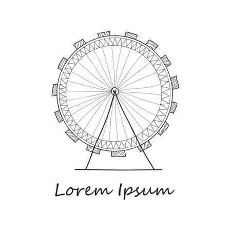 ferriswheel: |Composition with cute hand drawn Ferris wheel. V ector