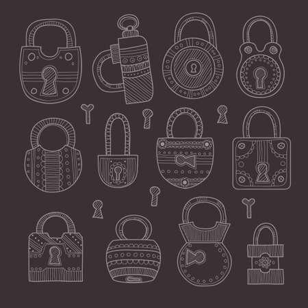 padlocks: Set of cute hand drawn ornate padlocks. Vector collection