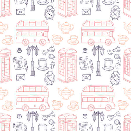 streetlight: Seamless pattern with british hand drawn icons including teapot, bus and others. Doodle vector UK related collection