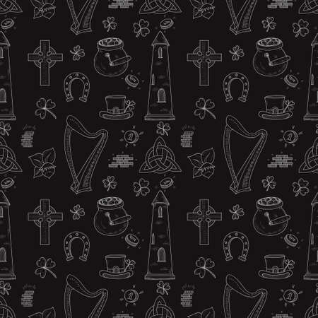 hand knot: Seamless pattern with Ireland related hand drawn icons including irish round tower and others. Doodle vector Ireland related collection