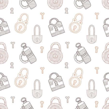 padlocks: Seamless pattern with cute hand drawn ornate padlocks. Vector collection Illustration