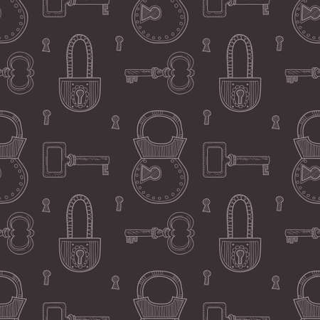 padlocks: Seamless pattern with cute hand drawn keys and padlocks. Vector colection