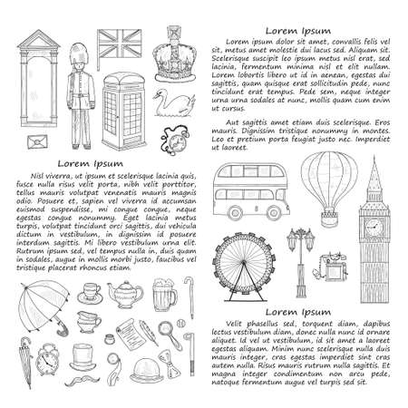 streetlight: Card template with Welcome to Great Britain hand drawn icons including Big Ben, crown, teapot, bus and others. Doodle vector UK related collection