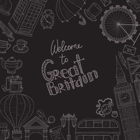 streetlight: Card template with Welcome to Great Britain hand drawn icons including  teapot, bus and others. Doodle vector United Kingdom related collection