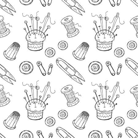handicraft: Seamless pattern with sewing tools. Vector hand drawn collection