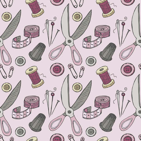 hank: Seamless pattern with sewing tools. Vector hand drawn collection