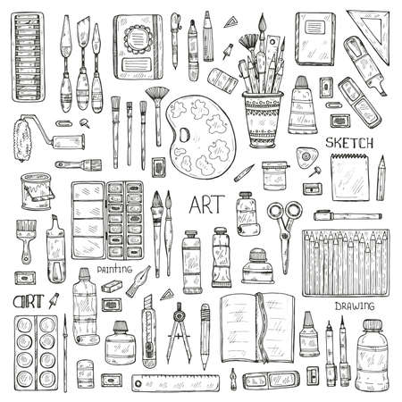 Conjunto de herramientas del arte dibujado a mano lindo incluyendo lápices