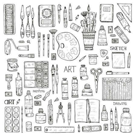 Set of cute hand drawn art tools including pencils