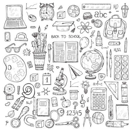 educational tools: Set of cute hand drawn educational tools