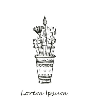 Composition with cute hand drawn art tools Vector Illustration