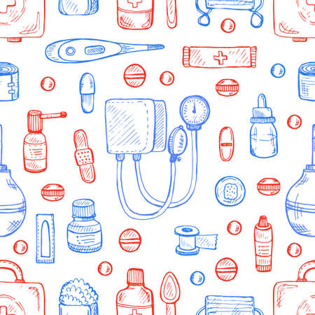 suppositories: Seamless pattern with medical tools and drugs