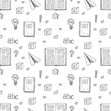 sheet of paper: Seamless pattern with cute hand drawn books and letters. Vector