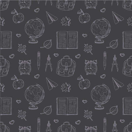 educational tools: Seamless pattern with cute hand drawn educational tools including pencil, globe and others. Vector hand drawn back to school collection Illustration