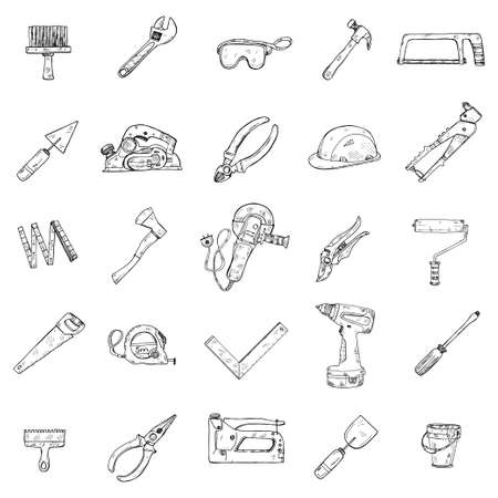 Icons of house repair tools including: hammer, spatula, brush, wrench  and other tools. Hand drawn vector collection