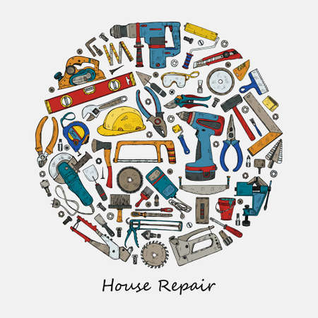 Round composition with house repair tools including: hammer, sledgehammer, spatula, brush, nail, screw, nut, wrench and other tools.