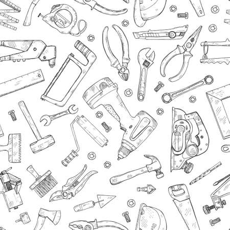 Seamless pattern with house repair tools including: hammer, sledgehammer, spatula, brush, nail, screw, nut, wrench and other tools. Hand drawn vector collection Illustration