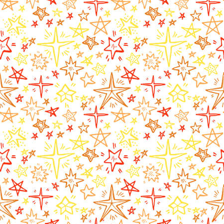 Seamless pattern with cute hand drawn stars. Vector