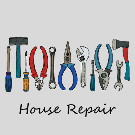 House repair tools including hammer; sledgehammer; wrench; screwdriver; pliers and other. Vector hand drawn collection  Ilustração