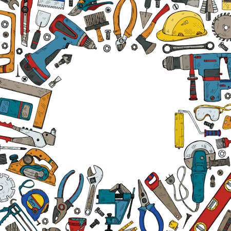 Composition with house repair tools including: hammer, sledgehammer, spatula, brush, nail, screw, nut, wrench  and other tools. Hand drawn vector collection