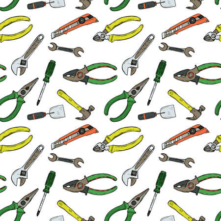 Seamless pattern with house repair tools including hammer; sledgehammer; wrench; screwdriver; pliers and other. Vector hand drawn collection