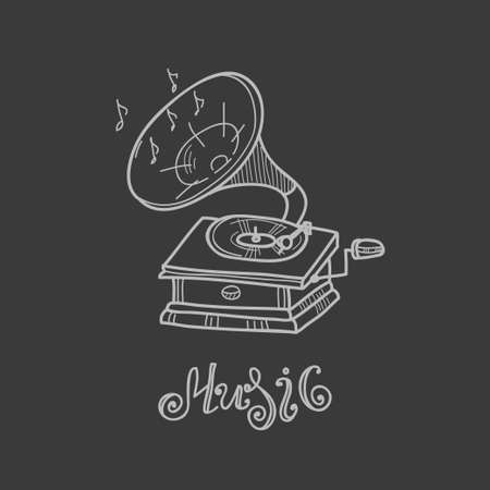 Cute hand drawn gramophone vector collection.