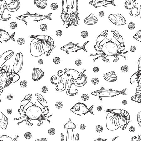Seamless pattern with cute hand drawn fish and other marine inhabitants.