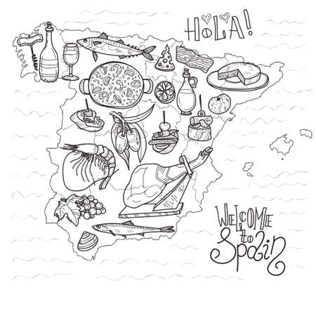 Cute hand drawn set of food and wine of Spain. Welcome to Spain collection.
