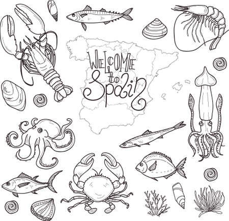 Cute hand drawn set of marine inhabitants of Spain. Welcome to Spain collection.