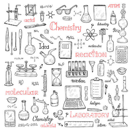 Big set with cute hand drawn chemistry elements. Vector science cartoon collection Illustration
