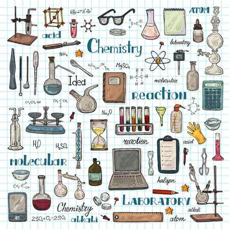 Big set with cute hand drawn chemistry elements Vector science cartoon collection Foto de archivo - 97352004
