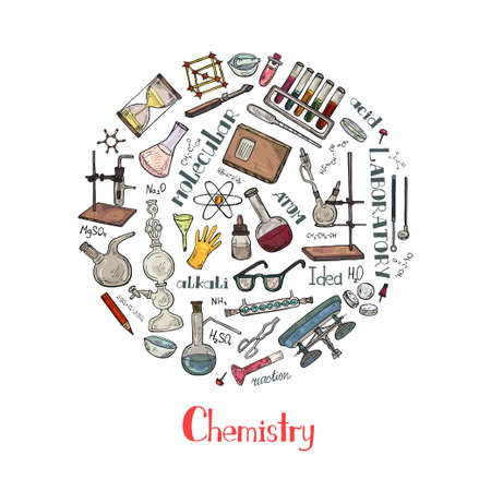 Round composition with cute hand drawn chemistry elements. Vector science cartoon collection Illustration