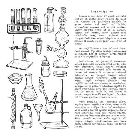 Book illusrtation with cute hand drawn chemistry elements. Vector science cartoon collection Foto de archivo - 97793235