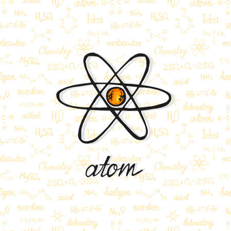 Cute hand drawn atom on background with chemistry formulas and elements. Vector science cartoon collection