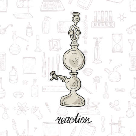 Cute hand drawn Kippa apparatus on background with chemistry equipment Vector science cartoon collection Foto de archivo - 98087946