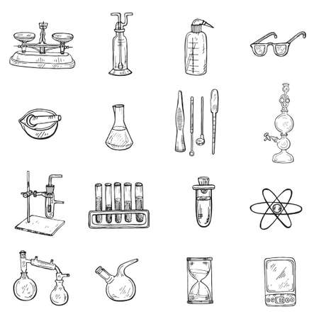 Set of cute hand drawn chemistry elements icons. Vector science cartoon collection Foto de archivo - 97793253