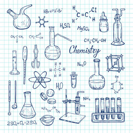 Illustration with cute hand drawn chemistry elements. Vector science cartoon collection Foto de archivo - 97793278
