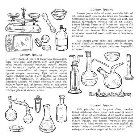 Book illustration with cute hand drawn chemistry elements. Vector science cartoon collection Foto de archivo - 98272874