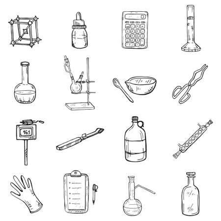 Set of cute hand drawn chemistry elements icons. Vector science cartoon collection Foto de archivo - 98272872
