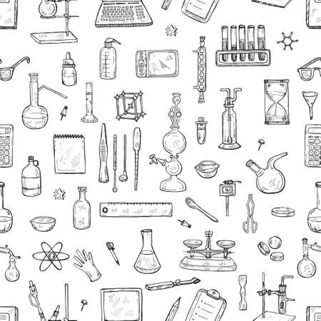 Seamless pattern with cute hand drawn chemistry elements. Vector science cartoon collection